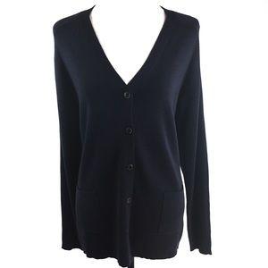 Talbots Sweater Navy Blue Button Front Medium NWOT